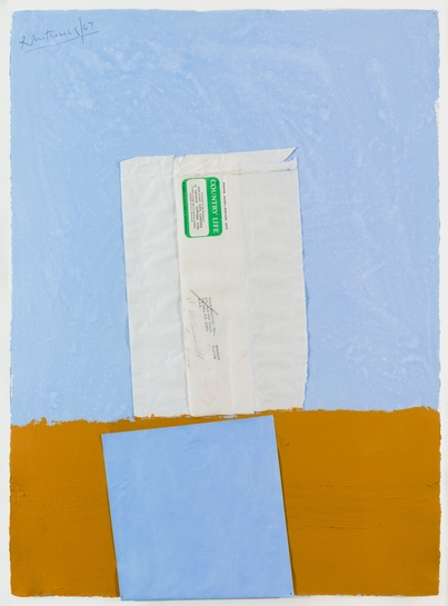 Robert Motherwell  Country Life No. 1, 1967  recto signed dated top left corner 'R Motherwell/67'  acrylic and pasted papers on paper  30 x 22 inches  76.2 x 55.9 cm  Artwork © Dedalus / Licensed by VAGA, New York