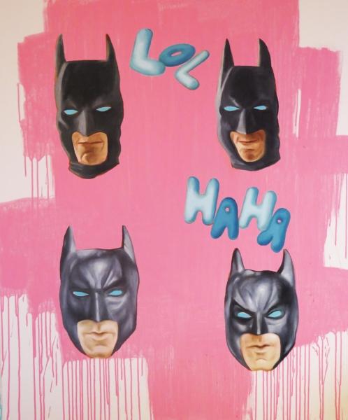 Batmen, 2016, 45 x 38 inches, oil on canvas