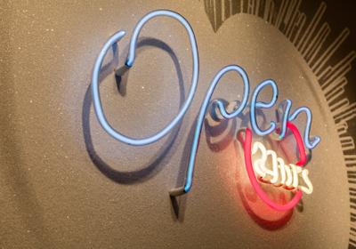 Rubem Robierb, White Heart Open 24HR, acrylic, sikscreen, diamond dust, neon, Courtesy Old School Cornell Museum
