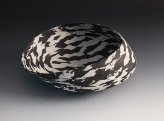 """Black & White Titled Vessel"", 2011. porcelain 4 1/2"" x 11"" x7 1/2"""