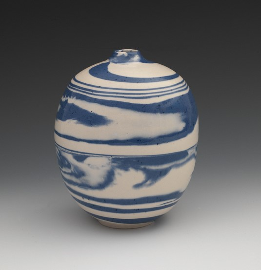 """Blue & White Swirl Vessel"", 2015. porcelain 6 3/4"" x 5 1/2"" x5 1/2"""