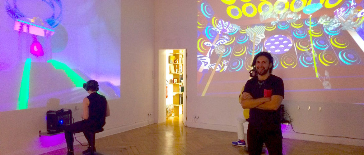 Installation view at Import Projects, with Alfredo Salazar-Caro (standing right) / photo by Tina Sauerländer