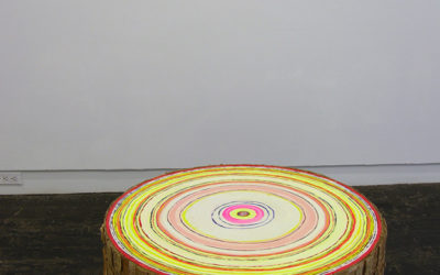 "David Kramer "" Ottoman"", 2016, Acrylic paint, wood and cardboard, 33 diameter x 17 inches"