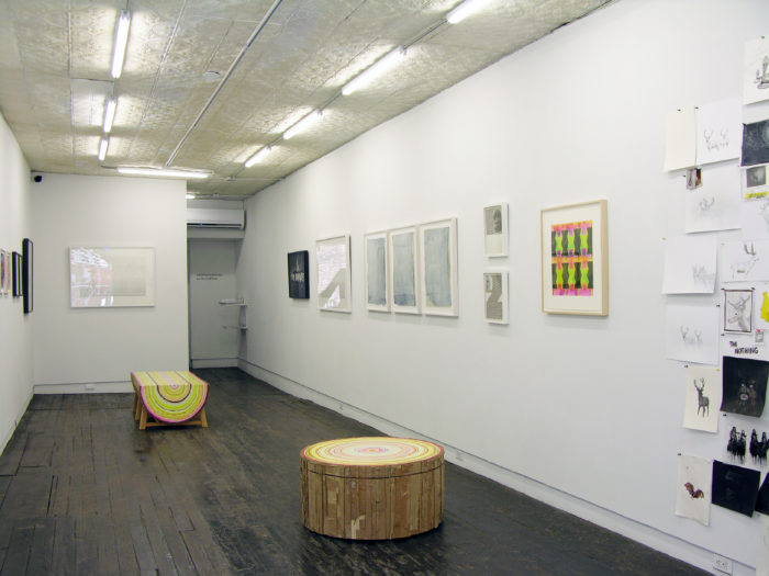 "Installation shot of ""Papered Stories"" on the ground floor of LMAK gallery"