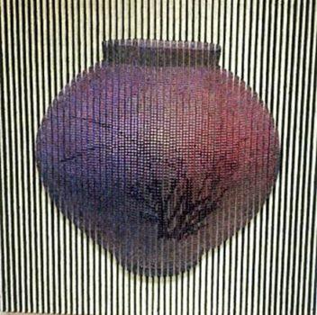 "Son Seock, ""L'attent"" 2016 Mixed media, wood painting on canvas 39 x 39 '' (images courtesy Galerie Mark Hachem, Paris)"