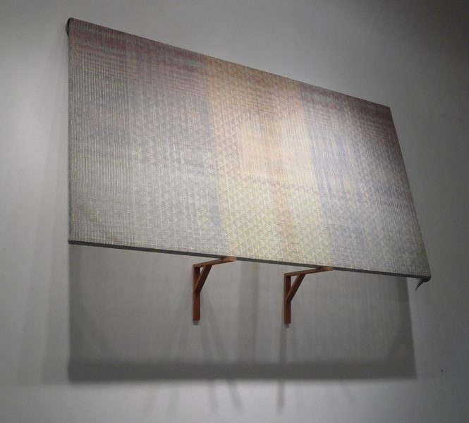 "Erika Lynne Hanson, Attempt #1 (after Frederic Church), 2011, Stretched woven linen, cedar shelf, 70"" x 95"" x 20"