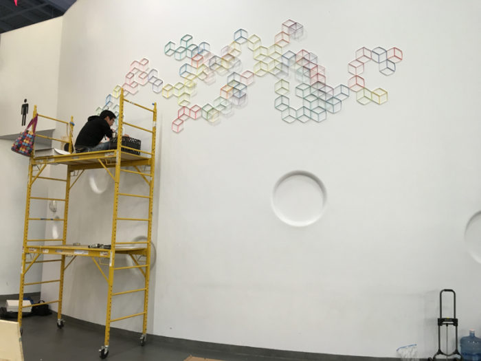 Installing at Art on Paper