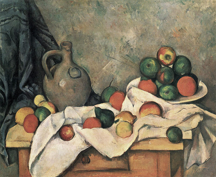 Paul Cézanne, Still Life, Drapery, Pitcher, and Fruit Bowl, 1893-1894