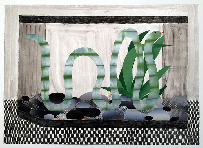 Snake Tank, 2015, oil and watercolor monoprint with chine colle