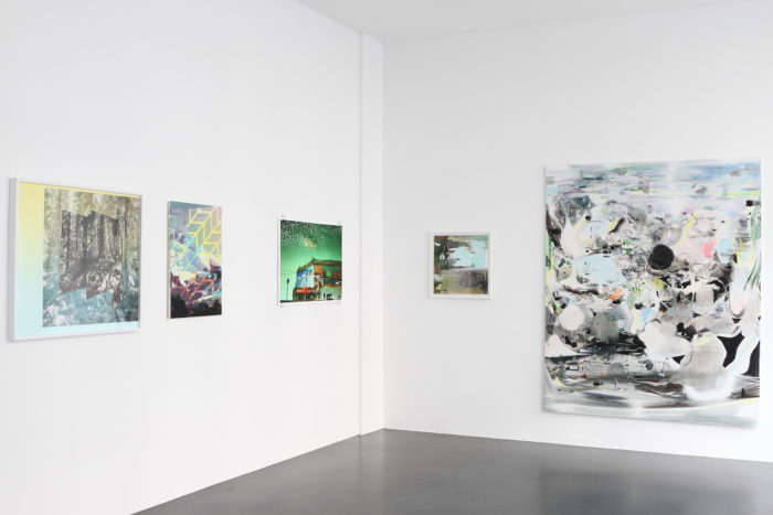 Exhibition LAYERED LANDSCAPES, curated by Tina Sauerlaender, artworks (LTR) by: Mark Dorf, Michelle Jezierski, Han Bing, Michelle Jezierski, Daecheon Lee / Courtesy Philine Cremer Gallery, Düsseldorf, Germany, 2016