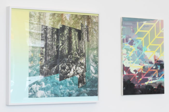 Exhibition LAYERED LANDSCAPES, curated by Tina Sauerlaender, artworks (LTR) by: Mark Dorf, Michelle Jezierski / Courtesy Philine Cremer Gallery, Düsseldorf, Germany, 2016