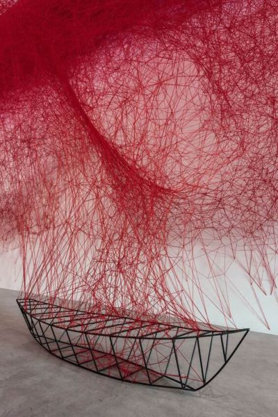 Chiharu Shiota, Uncertain Journey, 2016, Installation view, Courtesy the artist and Blain|Southern, Photo: Christian Glaeser