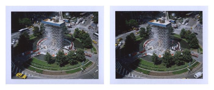 PETER LIVERSIDGE Columbus Circle , 2012 pair of unique Fuji FP-100C photographs image: 2 3/4 x 3 5/8 inches (7 x 9.2 cm) each Fuji: 3 1/4 x 4 1/4 inches (8.3 x 10.8 cm) each © Peter Liversidge Courtesy: Sean Kelly, New York