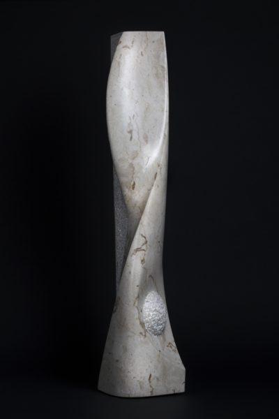 Doucet Simon, Comet in Transit, Italian marble botticino, 8 x 8 x 45 inch