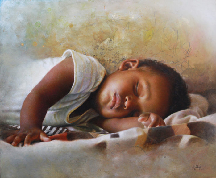 Philippe Attie Lullaby Oil on aluminum 20 x 24 inches