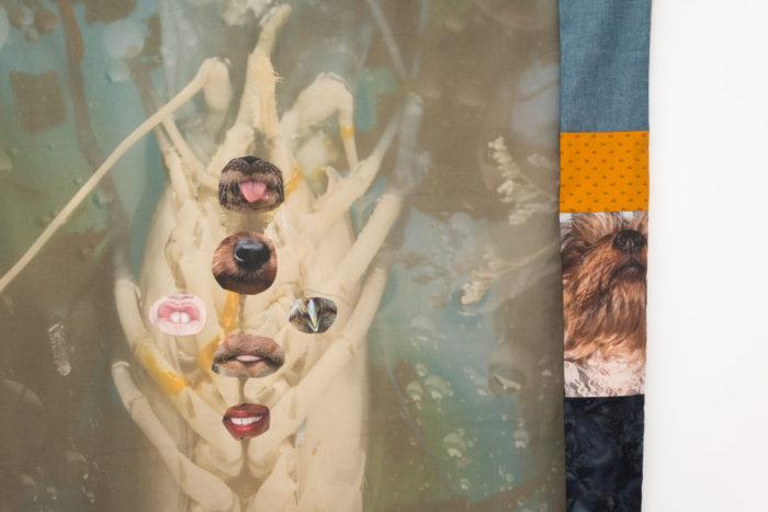 Erin Jane Nelson, Jizo Feeler, 2017, Pigment print on Jacquard Organza and Cotton, various fabrics, aluminum, debris, and styrofoam amaranth, 88 x 75 in